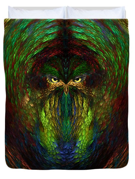 Duvet Cover featuring the digital art Owly Spirit - Fantasy Art By Giada Rossi by Giada Rossi