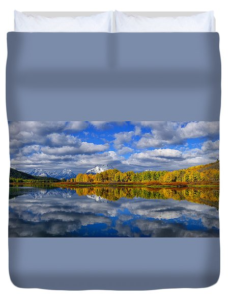 Oxbow Bend Peak Autumn Panorama Duvet Cover