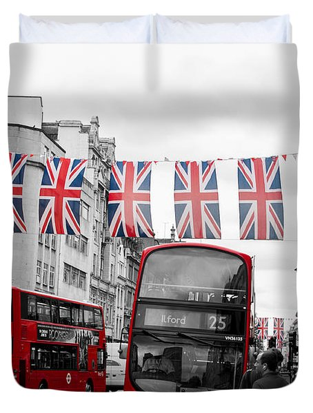 Duvet Cover featuring the photograph Oxford Street Flags by Matt Malloy