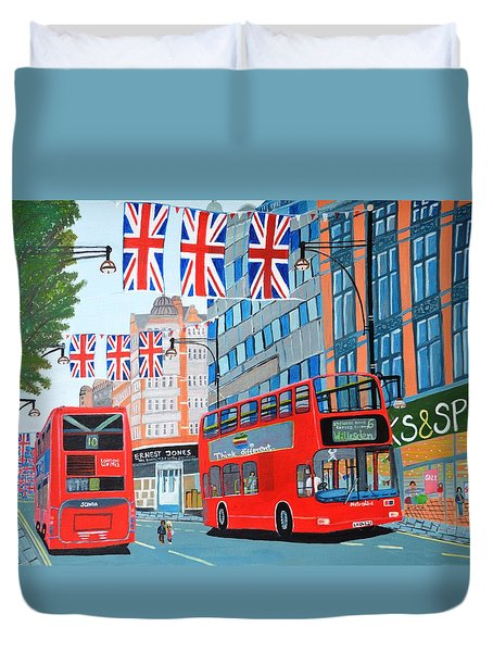 Duvet Cover featuring the painting Oxford Street- Queen's Diamond Jubilee  by Magdalena Frohnsdorff