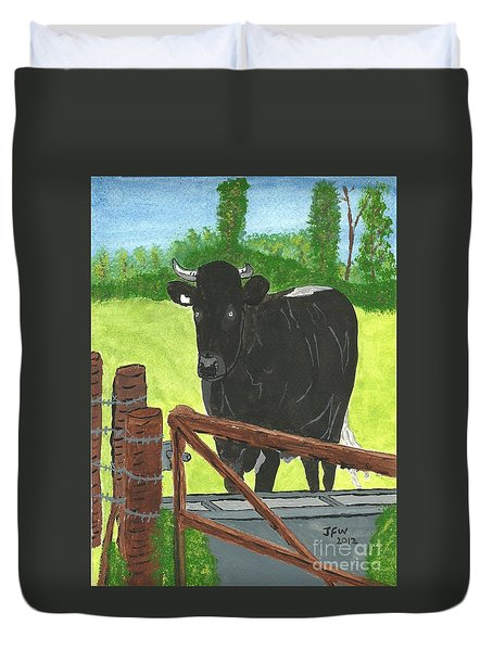 Duvet Cover featuring the painting Oxleaze Bull by John Williams