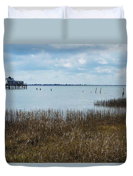 Oyster Shack And Tall Grass Duvet Cover by Photographic Arts And Design Studio