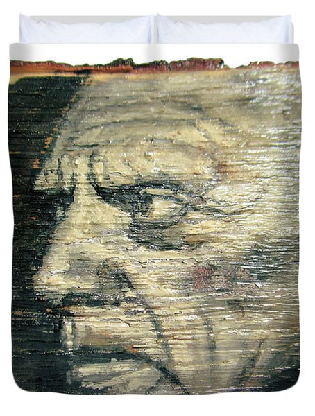 Pablo Picasso Face Portrait - Painting On The Wood Duvet Cover by Nenad Cerovic