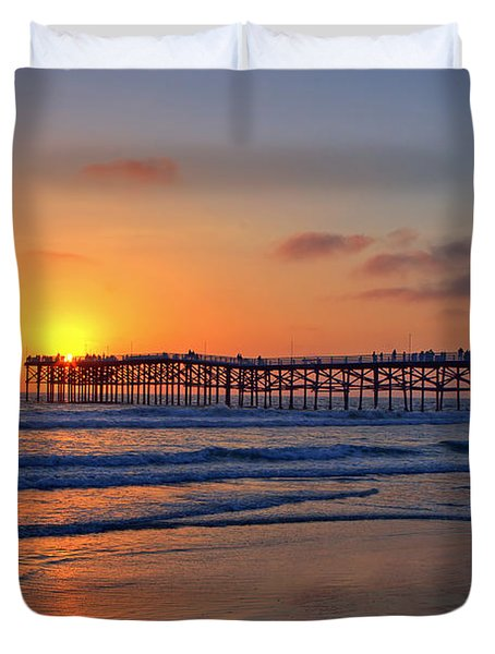 Pacific Beach Pier Sunset Duvet Cover