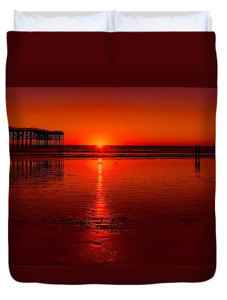 Pacific Beach Sunset Duvet Cover by Tammy Espino