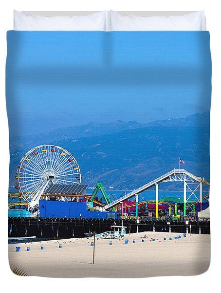 Duvet Cover featuring the photograph Pacific Park Santa Monica by Art Block Collections