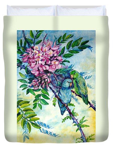 Pacific Parrotlets Duvet Cover