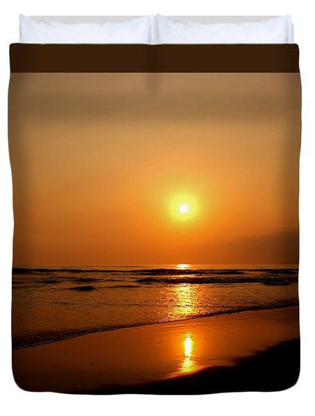 Pacific Sunset Reflection Duvet Cover by Debby Pueschel