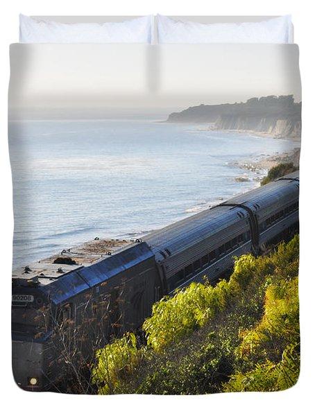 Pacific Surfliner Along The Central Coast Duvet Cover