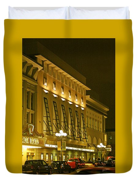 Pacific Theatres In San Diego At Night Duvet Cover by Ben and Raisa Gertsberg