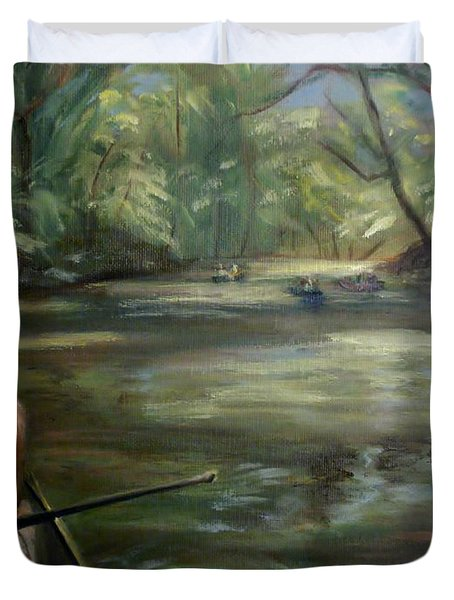 Duvet Cover featuring the painting Paddle Break by Donna Tuten