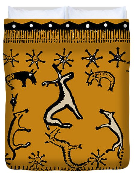 Duvet Cover featuring the digital art Pagan Rituals by Vagabond Folk Art - Virginia Vivier
