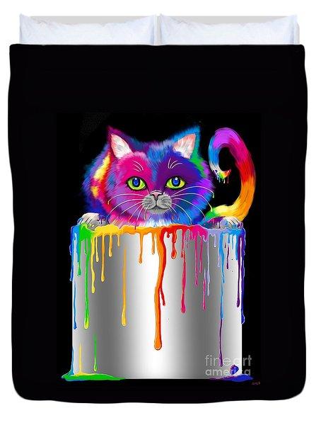Paint Can Cat Duvet Cover