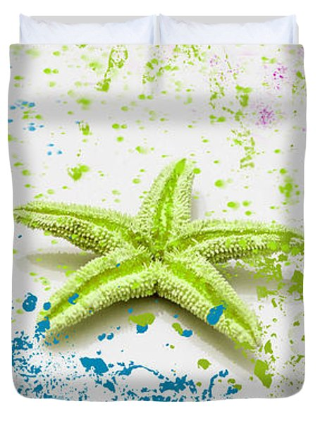 Paint Spattered Star Fish Duvet Cover
