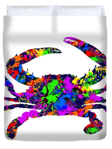 Paint Splatter Blue Crab Duvet Cover