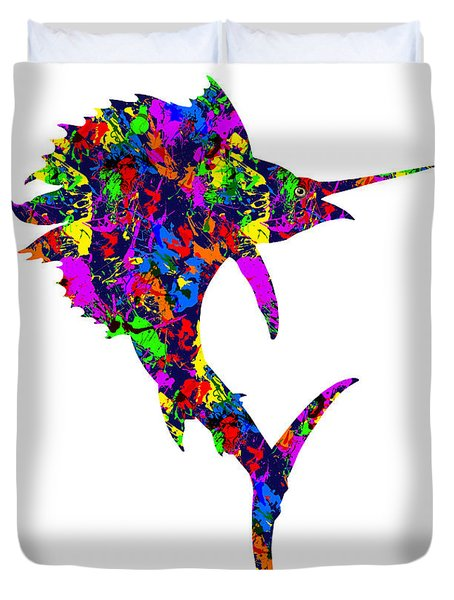 Paint Splatter Sailfish Duvet Cover
