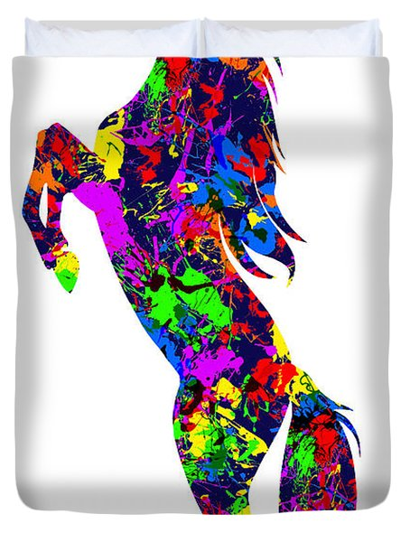 Paint Splatter Stallion Duvet Cover