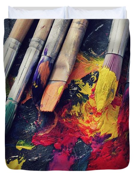 Paintbrushes  Duvet Cover by Bella  Harris