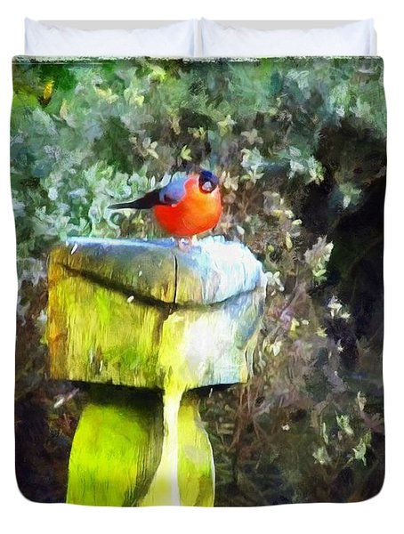 Painted Bullfinch S2 Duvet Cover
