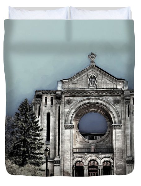 Duvet Cover featuring the digital art Painted Basilica 2 by Teresa Zieba
