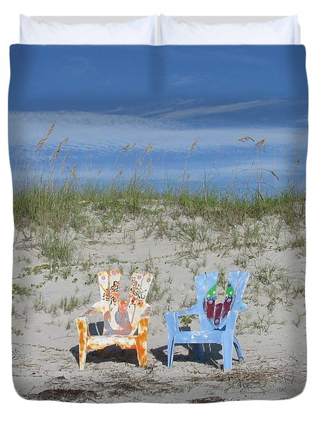 Painted Beach Chairs Duvet Cover by Ellen Meakin