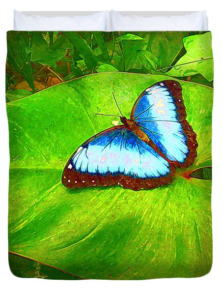 Duvet Cover featuring the photograph Painted Blue Morpho by Teresa Zieba