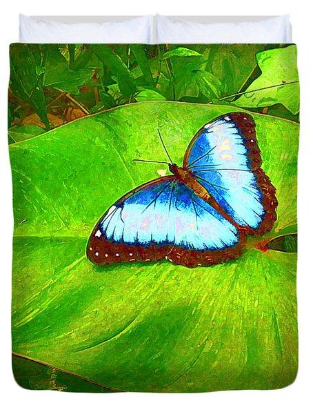 Painted Blue Morpho Duvet Cover by Teresa Zieba