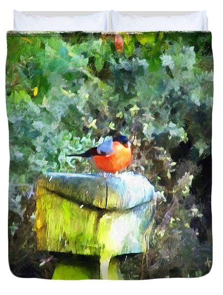 Painted Bullfinch S1 Duvet Cover
