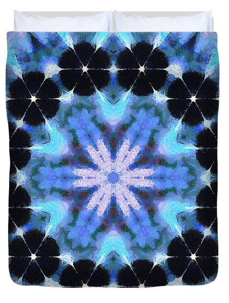 Painted Cymatics 108.00hz Duvet Cover by Derek Gedney