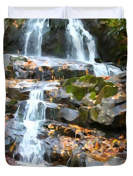 Painted Falls In The Smokies Duvet Cover by Dan Sproul