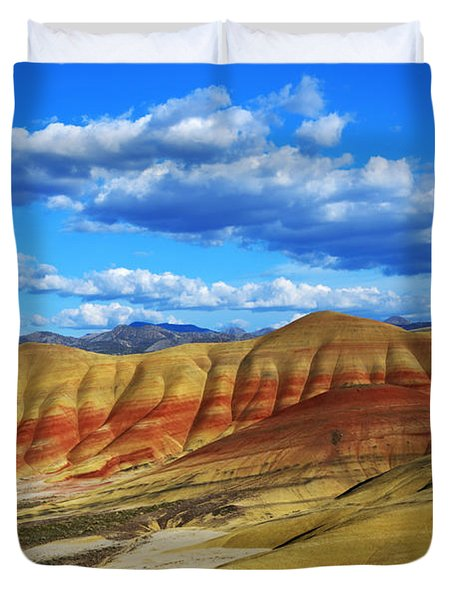 Painted Hills Blue Sky 3 Duvet Cover by Bob Christopher