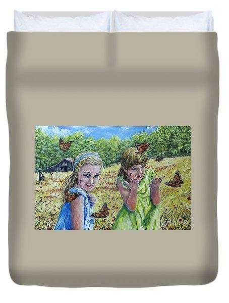 Painted Ladies Duvet Cover by Gail Butler