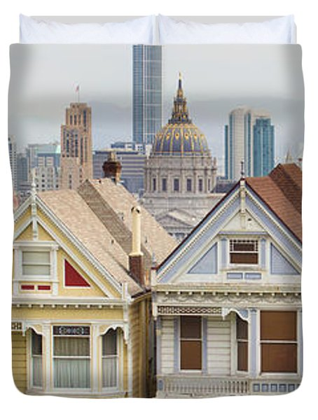 Painted Ladies Row Houses By Alamo Square Duvet Cover