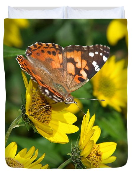 Duvet Cover featuring the photograph Painted Lady by James Peterson