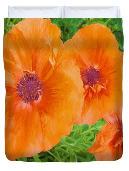 Duvet Cover featuring the digital art Painted Poppy Brilliant Orange by Cathy Anderson