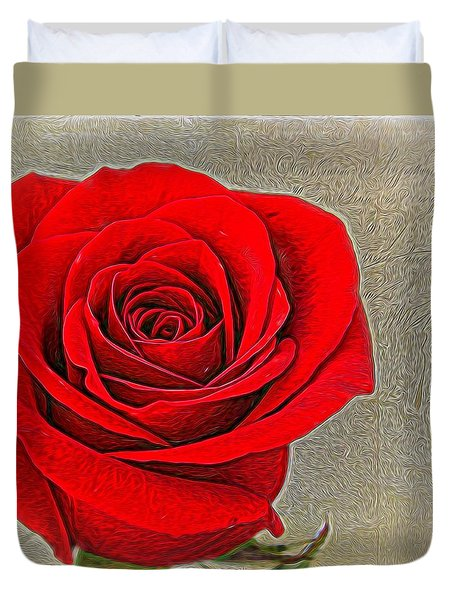 Painted Rose Duvet Cover by Judy Vincent