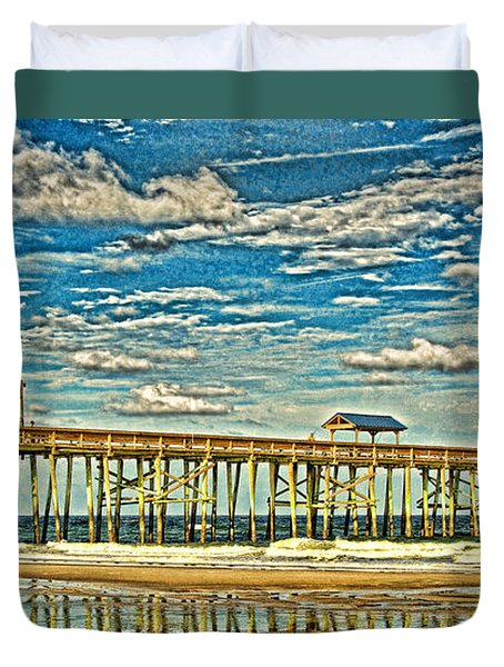 Surreal Reflection Pier Duvet Cover by Paula Porterfield-Izzo