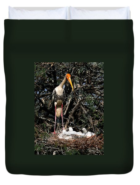 Painted Stork With Chicks Duvet Cover
