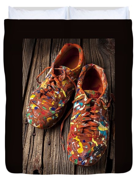 Painted Tennis Shoes Duvet Cover by Garry Gay
