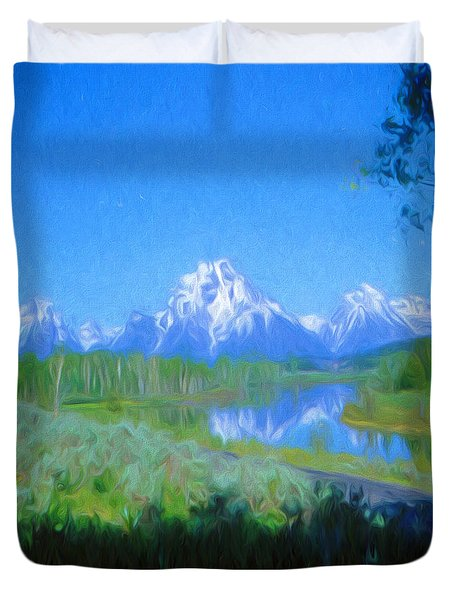 Duvet Cover featuring the digital art Painted Tetons by Cathy Anderson