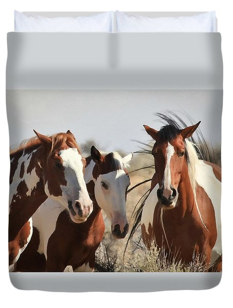 Painted Wild Horses Duvet Cover by Athena Mckinzie