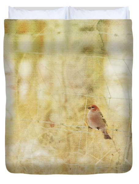 Painterly Image Of A Male Pine Grosbeak Duvet Cover by Roberta Murray