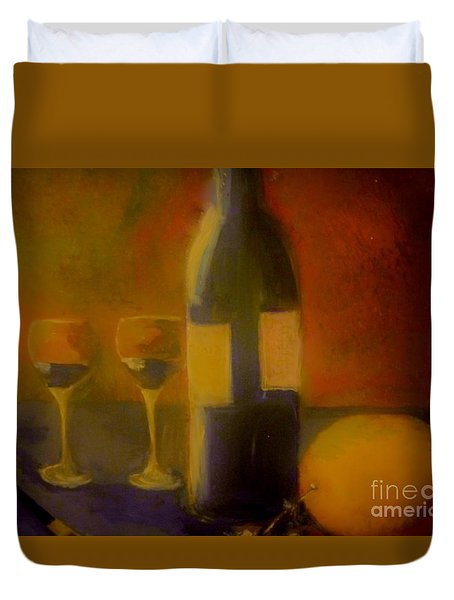 Duvet Cover featuring the painting Painting And Wine by Lisa Kaiser