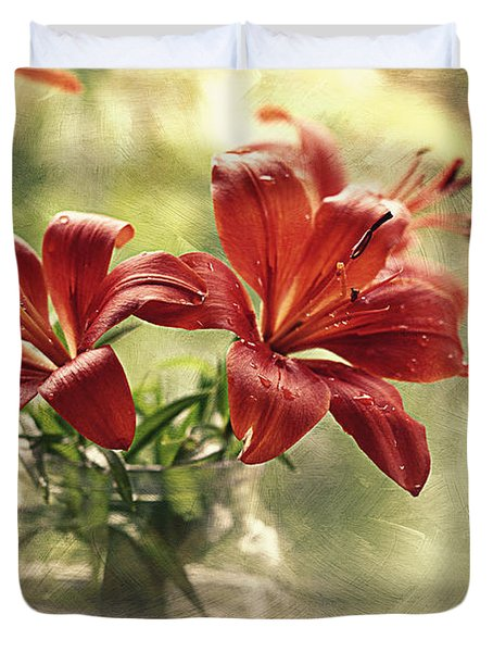 Painting Daylilies On My Window Duvet Cover