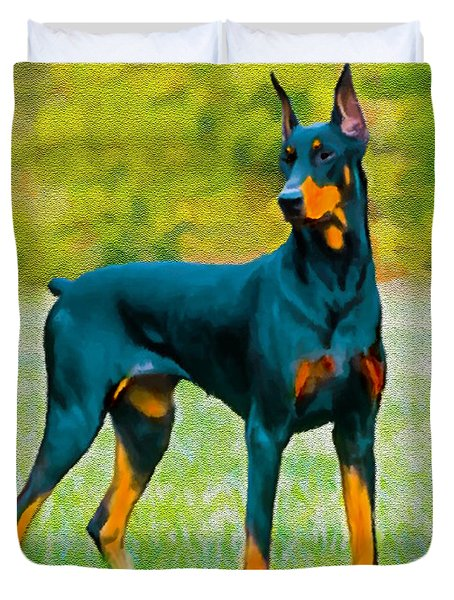 Painting Doberman Pincher Duvet Cover by Bob and Nadine Johnston