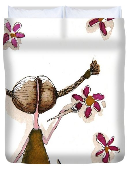 Painting Flowers Duvet Cover by Lucia Stewart