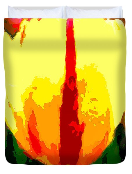 Painting Of A Bright  Yellow Tulip Duvet Cover