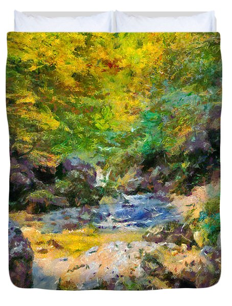 Painting Of Autumn Scenery Duvet Cover