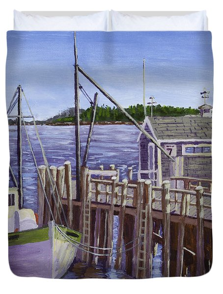 Fishing Boat Docked In Boothbay Harbor Maine Duvet Cover