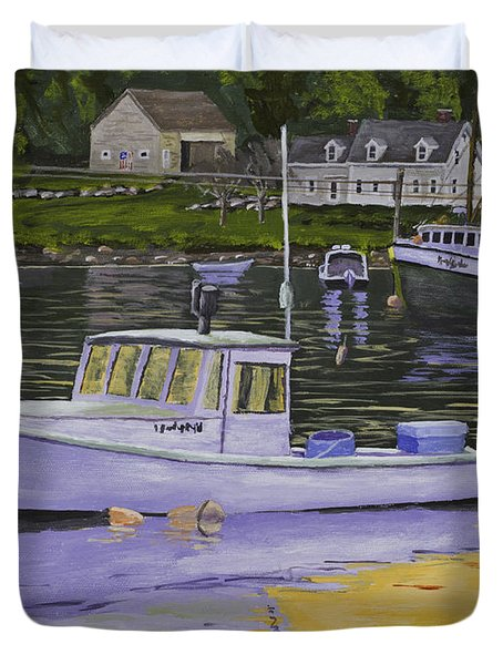 Fishing Boats In Port Clyde Maine Duvet Cover